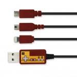 FC風デザインのレトロマルチUSB充電ケーブル、iPhone/iPad/PSVita/3DSに対応